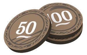 5 Segnalini 50/100 punti a doppia faccia